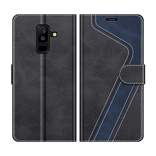 MOBESV Samsung Galaxy A6+ Hülle Leder, Galaxy A6+ Tasche Lederhülle Wallet Case Ledertasche Handyhülle Schutzhülle für Samsung Galaxy A6 Plus 2018, Modisch Schwarz