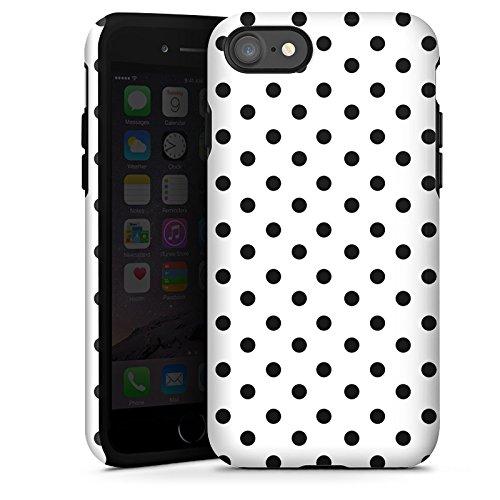 Apple iPhone X Silikon Hülle Case Schutzhülle Polka Punkte Schwarz-Weiß Muster Tough Case glänzend