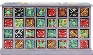 BHP b421539 indiens commode/bois, porcelaine, 33 x 58 cm (multicolore)