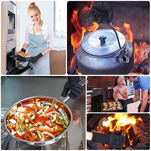 51U8Odj1GJL - MILcea Grillhandschuhe Ofenhandschuhe Grill Lederhandschuhe Hitzebeständige bis zu 800 ° C Universalgröße Kochhandschuhe Backhandschuhe für BBQ Kochen Backen und Schweißen-Klassisch Schwarz (Schwarz)