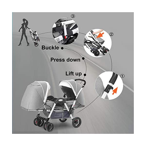 ZJGOODS Twin Baby Strollers for Boys And Girls with Adjustable Backrest Double Face to Face with Shock Absorber Comfortable Folding Trolley,B ZJGOODS TWIN STROLLER: Getting everywhere with two little ones has never been easier, thanks to the Double Strollers; you can glide around town even when you only have one hand free to steer; you can even roll through a standard size doorway. ADJUSTABLE BACKREST & CONNECTABLE SEATS :The backrest can adjust to fit baby's sleep posture to keep comfortable sleeping. Two seats can be connected to lengthen the seat. SAFETY WHEELS & 5-POINT SAFETY BELTS:The springs in front wheels absorb shocks for easy to control direction and safety. The 5-point safety belt is equipped with each seat to ensure security while keeping your baby fit to the safety belt to feel comfortable. 4