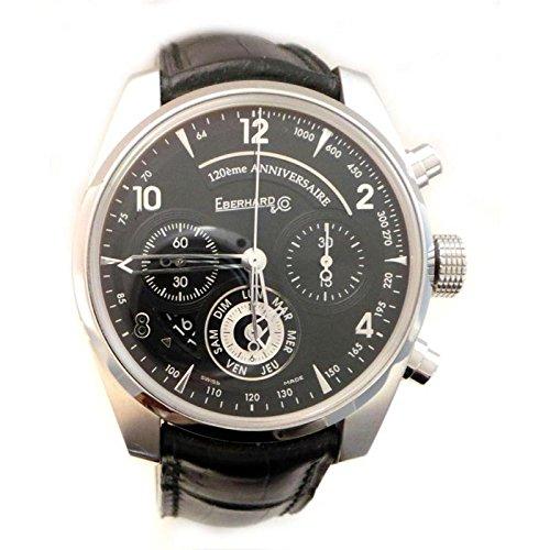 Men Eberhard 31121CPD Automatic Steel quandrante Black Leather Strap Watch