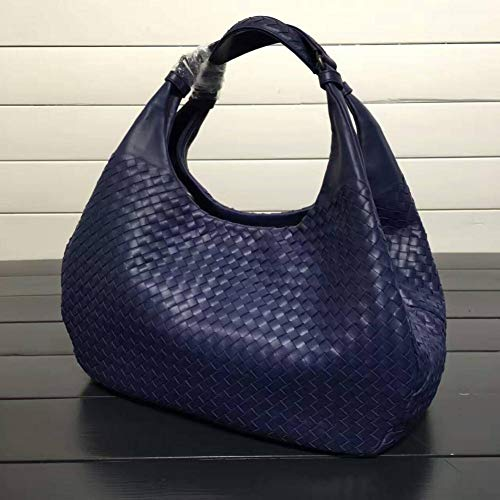 WOKJBGE Rattan Tasche Handgemachte Webart-Handtaschen-Frauen-Dame Shoulder Bags Female Totes Royal Blue