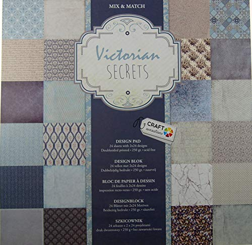 Craft Sensations Zeichenblock, quadratisch, 30 cm, Bedruckt, Mix & Match, 24 Blatt -