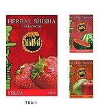 Sabores surtidos HIBRON Hierba Para Shisha Cachimba Sin Nicotina 3 Paquetes x 50g 3Kit-1 Fresa...