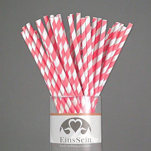 25x Papierstrohhalme Stripes EinsSein® weiss-rosa Hochzeit Party Geburtstag Strohhalme Trinkhalme Cake Pops Sticks und Candy Bar-Zubehör Stiele Papier Pappgeschirr Straws - 2