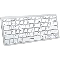 VICTSING Teclado Bluetooth Inalambrico Ultra-Delgado Mini para Windows, Mac, iOS, Tablet, Android, iPad, Movil-Plata (Teclado QWERTY Español)