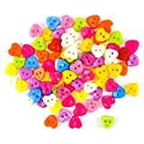 #1: Unobite 2-Holes Heart Design Plastic Buttons for Sewing and DIY Craft Pack of 100 Piece
