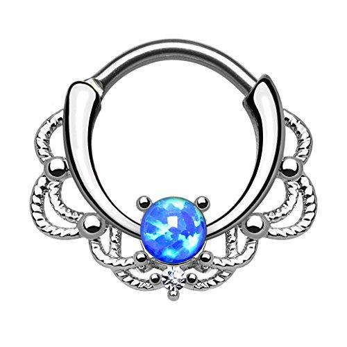 Piercingfaktor® Piercing Universal Clicker Schild Ring Septum Nasenpiercing Lippenpiercing Tragus Helix Ohr mit Opal Silber Blau