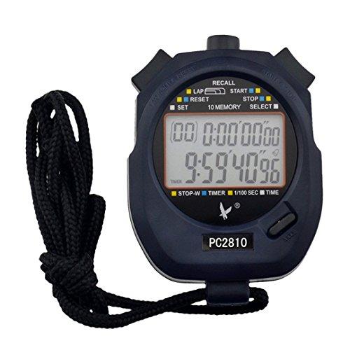 Digitale Professionelle Sport Stoppuhr Timer mit 2-Zeilen-Display 10 Speicher, Großes LCD Display, T Leap (2 Zeile Lcd)