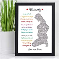 Gifts for Mummy To Be PERSONALISED Birthday Christmas Baby Shower Gifts from Bump - Gifts for Expecting Mummy from Bump - Birthday Christmas Mothers Day Gift - A5 A4 Framed Print or 18mm Wooden Blocks