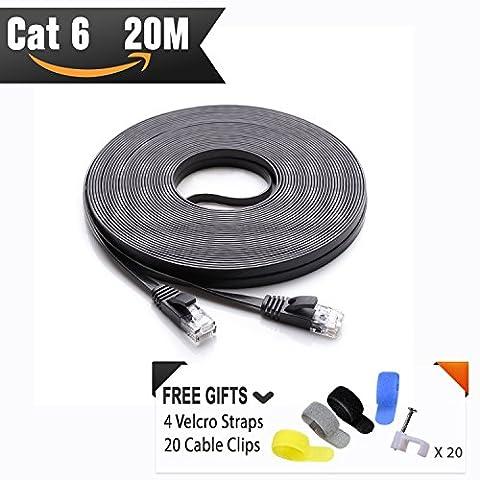 CAT 6 Câble Ethernet 20 m Noir (au Prix d'un Cat5e mais Plus Bande passante) Cat6 Plat câble réseau Internet Haut débit pour réseau LAN Gigabit pour routeur/modem/panneau de brassage avec câble Clips et sangles Velcro