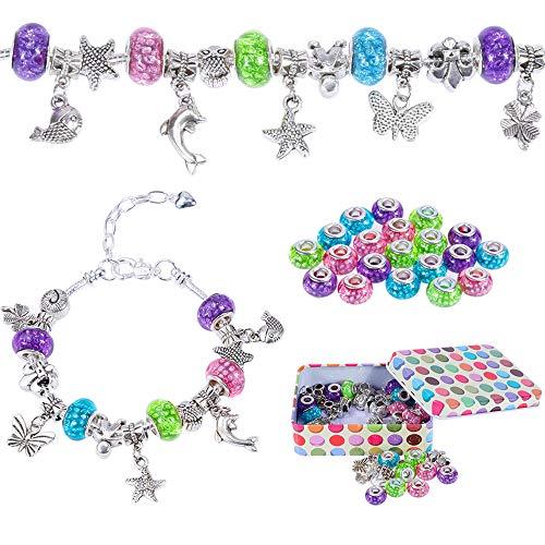 Nabance Charm Armband Kit Silber Kette mit Handwerk Perle Armband Mädchen DIY Schmuck Armband Bastelset Mädchen Geschenke