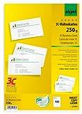 Sigel LP800 Visitenkarten 3C, 100 Stück (10 Blatt), hochweiß, glatter Schnitt rundum, 250 g, 85x55 mm - weitere Stückzahlen