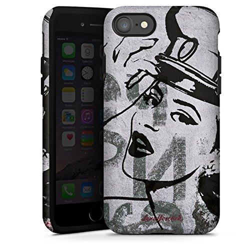 Apple iPhone X Silikon Hülle Case Schutzhülle Frau Zeichnung Fashion Mode Tough Case glänzend