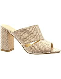 Angkorly Chaussure Mode Mule Sandale Femme Peau de Serpent Croco Talon Haut  Bloc 9 cm f7835338a8ea