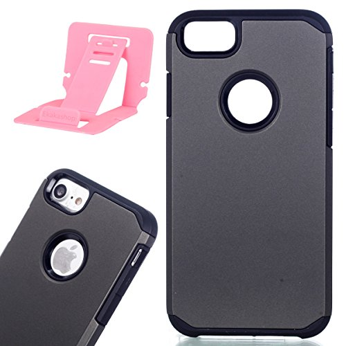 iphone 7 Hülle,iphone 7 Schutzhülle Defender Bumper,Ekakashop 2 in 1 Kreativ Design PC + TPU Anti-choc Splash-proof Shockproof Dual Layer Protective Handyhülle Tasche Housse Silikon Flexible Gel Prakt Tiefgrau