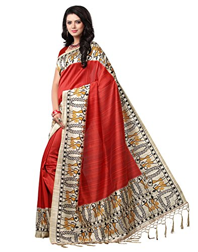 e-VASTRAM Women's Mysore Art Silk Printed Saree With Tassel/Kutch (NSTASSELM_Maroon)