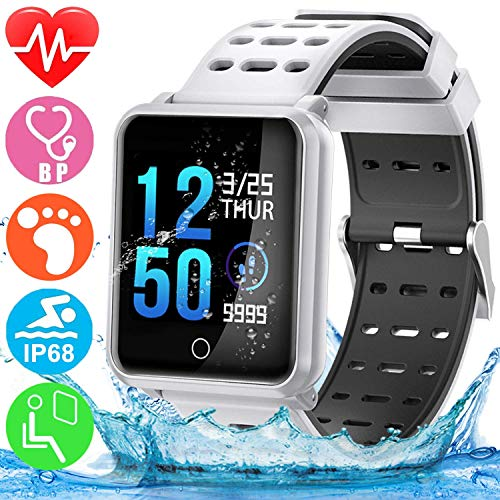 ZZALL Smart Watch Sport Activity Fitness Tracker mit Herzfrequenz Blutdruck Schlaf Monitor Pedometer Wasserdichte Armbanduhr (Weiß)