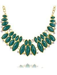 Curvy Fashion Gold & Green Alloy Strand Necklace For Women (CQF026)