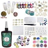 Joligel Resin-Kit mit Pigment-Einfassungen, 250g transparentes UV-Epoxidharz mit 9 Silikonformen 17 Einfassungen mit offener Rückseite 13 Farbstoffe 24 Glitter, Schmuck-Set mit Kompaktlampe