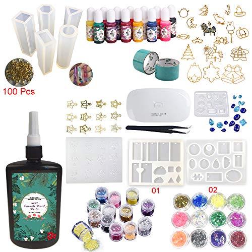 Joligel Resin-Kit mit Pigment-Einfassungen, 250g transparentes UV-Epoxidharz mit 9 Silikonformen 17 Einfassungen mit offener Rückseite 13 Farbstoffe 24 Glitter, Schmuck-Set mit Kompaktlampe -