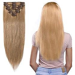 40-55cm Extension Cheveux Naturel a Clip (65-75g) 8 Pcs Extensions de Cheveux Humains à Clips - #27 Blond foncé, 40cm/65g - 100% Remy Human Hair Extension Clip