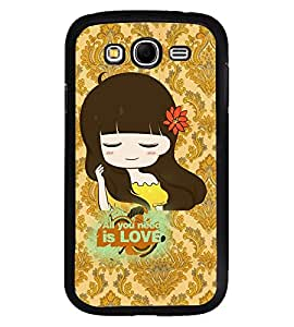 Fuson Premium I Need Love Metal Printed with Hard Plastic Back Case Cover for Samsung Galaxy Grand Neo i9060