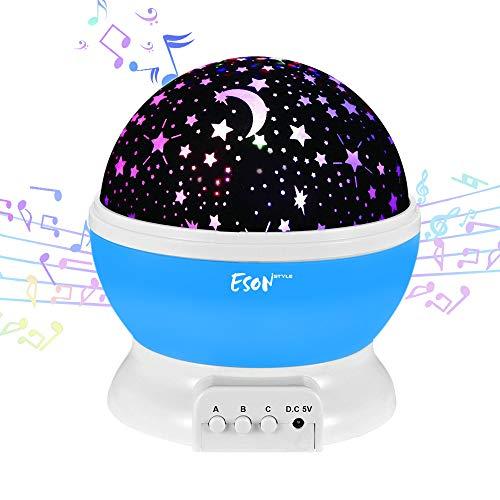 (Esonstyle Wiederaufladbare 360 Grad Drehende Nachtlicht Projektor Baby Musical Mond und Himmel Licht mit 12Licht Musik für Baby Zimmer, Schlafzimmer, Kinderzimmer, Halloween, Weihnachten(Blau))