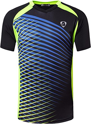Jeansian Hombres Deportes Wicking Quick Dry Respirable Corriente Training tee T-Shirt Sport Tops LSL230 Black M