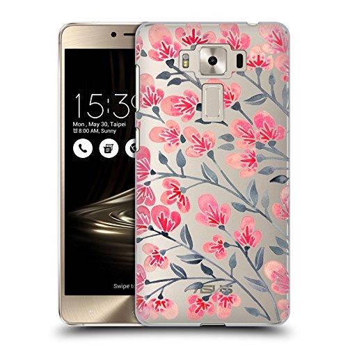 Deluxe Kirsche (Offizielle Cat Coquillette Kirschen Blüte Schwarz Pink Blumig 2 Ruckseite Hülle für Zenfone 3 Deluxe 5.5 ZS550KL)