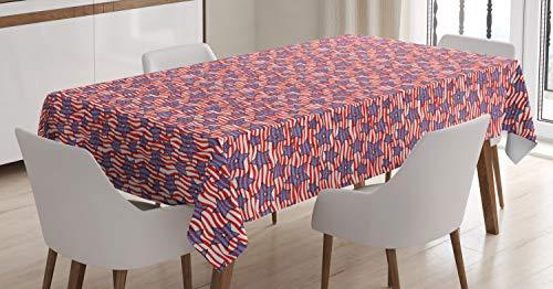 ABAKUHAUS 4. Juli Tischdecke, Flagge von Amerika, Für den Inn und Outdoor Bereich geeignet Waschbar Druck Klar Kein Verblassen, 140 x 170 cm, Violettblau Weiß Rot