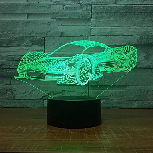LNHYX Led Cool Sports Car Shape 3D Night Light Usb Touch Button Car Table Lamp 7 Colors Changing Atmosphere Light Fixture Gifts Decor