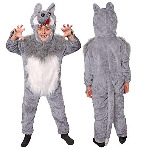 ILOVEFANCYDRESS Kinder Wolf Unisex MÄRCHEN KOSTÜME VERKLEIDUNG = ROTKÄPPCHEN + BÖSE Wolf = Fasching-Karneval-BUCHWOCHE+Film -FERNSEHN = Onsie MIT Gesicht UND Fell Bauch = Large