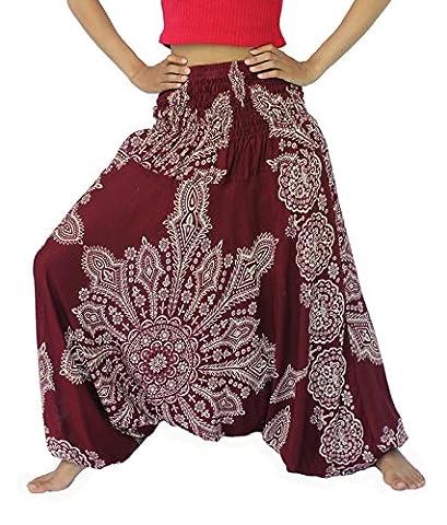 NaLuck Women's Bohemian Hobo Boho Paisley floral Hippie Unisex Classic vintage Rayon Smocked Waist Yoga Harem Pants