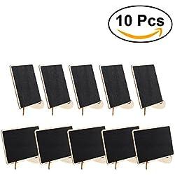 ULTNICE Mini Tableau Noir Ardoises Rectangle avec Support pour Panneaux à Message Board 10pcs