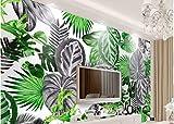 BHXINGMU Murales Personalizados Plantas Nórdicas Minimalistas Tropicales En Blanco Y Negro Hojas De Tortuga Gran Decoración De La Pared Del Hotel. 270Cm(H)×370Cm(W)