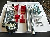 AVB Komplettpaket f. PKW Anhänger Stützen 600 mm , Premiumschloß, Stützrad & Adapter 13 - 7 Keile rot