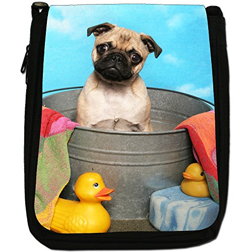 Carlino Pugs Love Little Cani Medium Nero Borsa In Tela, taglia M Bath Time Pug & Rubber Ducks