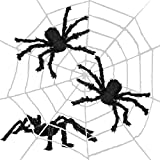 THE TWIDDLERS Großes 11 Fuß Spinnennetz - Enthält 3 realistische Spinnen - Perfekt deko für Halloween Saisonale Dekoration/Requisiten - Ideal für alle Halloween Feste