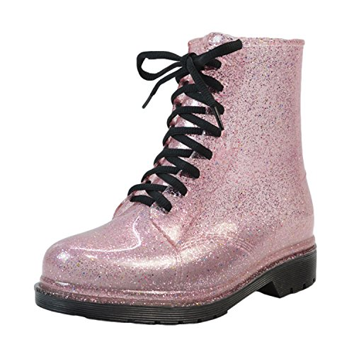 Oasap Women's Color Block Round Toe Lace up Shining Rain Boots, Pink (Pink Lace Stiefel Up)