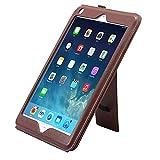 TechCode iPad Air 2 Hülle, Slim Fit Prämie PU Ledertasche Tablet Smart Stand Hülle mit Kartensteckplatz und Handschlaufe für iPad Air 2 (Dunkelbraun)