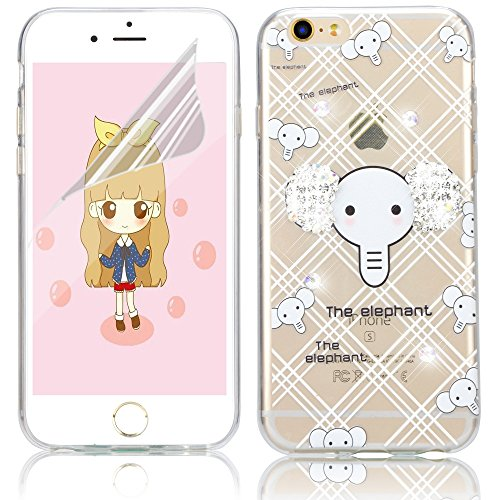 Coque iPhone 6s Plus, Coque iPhone 6 Plus / 6s Plus Transparente Silicone TPU Gel Soft Etui Sunroyal® Housse de Protection Motif Slim Bling Strass Case Cover Anti-Scratch Antichoc + Film Protection -  Bling TPU-12