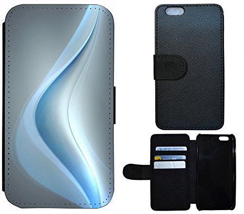 Coque Flip Cover Housse Etui Case Pour, Tissu, 1169 Klaviertasten Blau Weiß Abstract, Apple iPhone 5 / 5S 1163 Abstract Hell Blau Grau