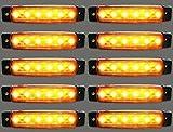 10 x Luci di posizione laterali, a LED, luce ambrata arancione, 12 V, universali per rimorchio, camion, caravan, camper, trattore, bus