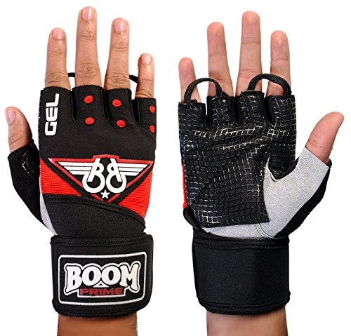 BOOM-Prime-Red-Black-Wheelchair-Gloves-Gym-Sports-Half-Finger-Cycling-Gel-Padded-Weight-Lifting-Exercise-Free-UK-Shipping