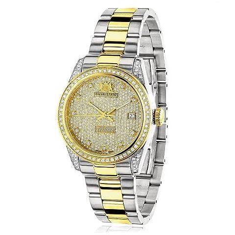 Womens White Yellow Gold Pltd Diamond Watch Two Tone LUXURMAN Tribeca 1.5ct