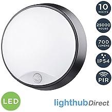10W LED redondo montado en la pared PIR movimiento sensor luminaria con ajuste negro, luz de pared, iluminación exterior para el jardín, cobertizo, porche, garaje, taller, Patio