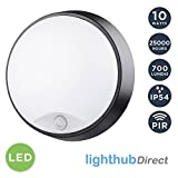 LightHub 10W LED Outdoor Round Circular Wall Mounted PIR Motion Sensor Bulkhead Light Fixture with Black Trim - Perfect for Garden, Shed, Porch, Garage, Workshop, Patio etc