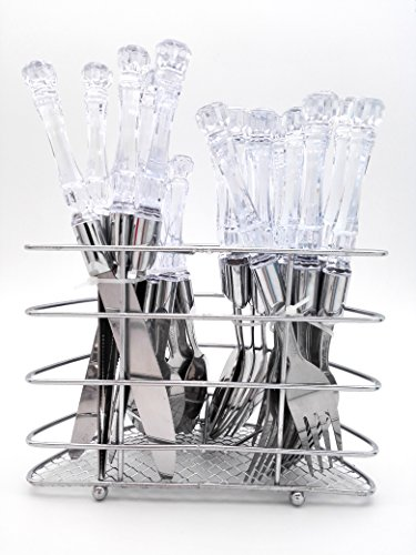 Uniware 24 Pcs Stainless Steel Cutlery Set (6 Spoon, 6 Knives, 6 Forks, 6 Teaspoons) (White)